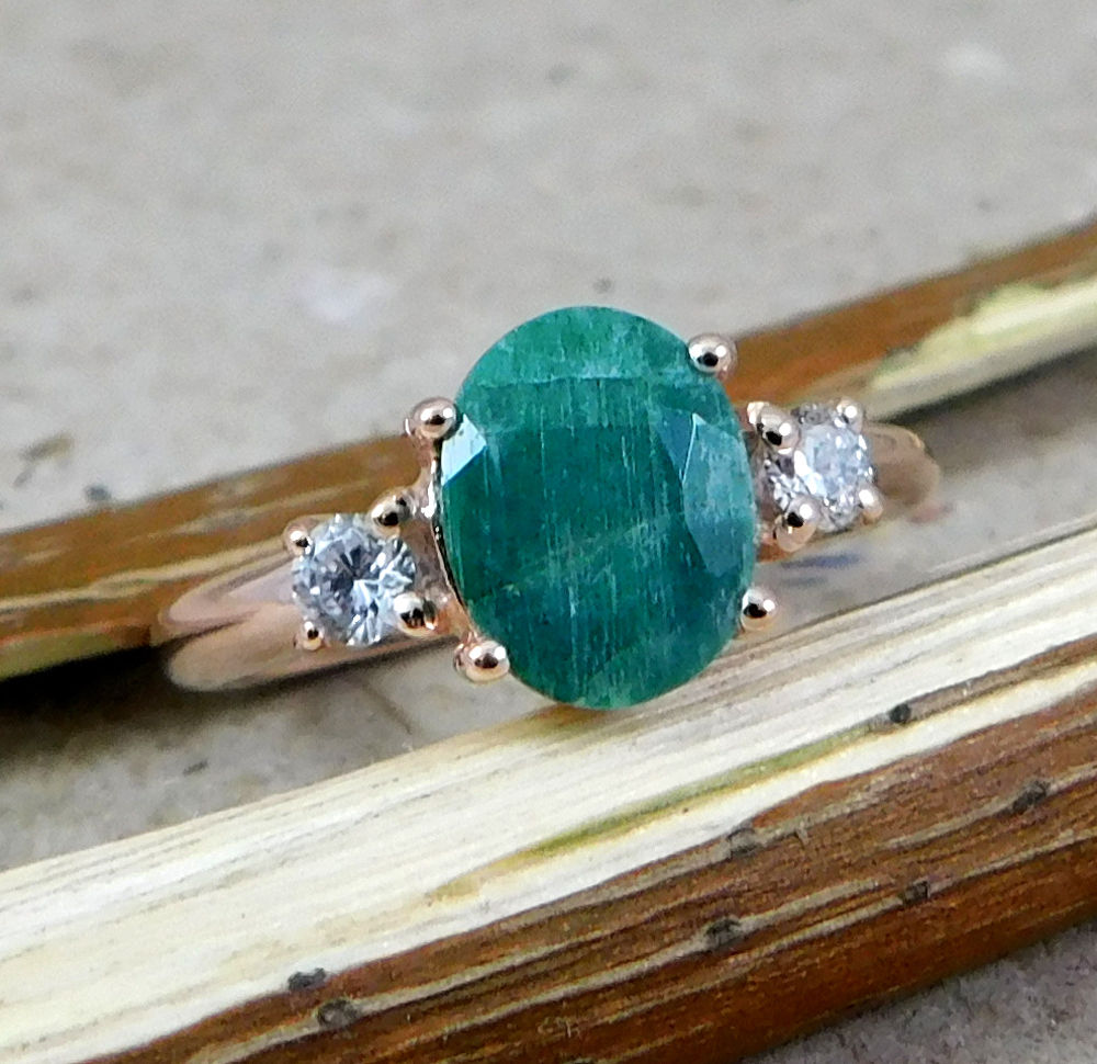 Rosé vergulde ring met Emerald en Zirkonia 17.3 mm