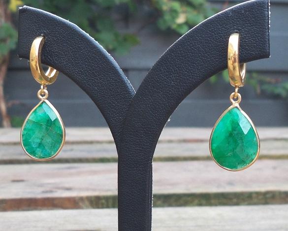 goede kwaliteit hete producten nieuwe specials Vergulde oorbellen / creolen met Emerald briolet
