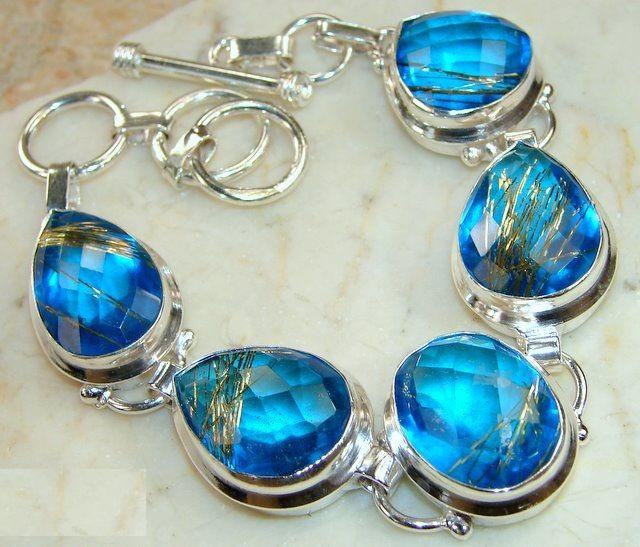 Geliefde Zilveren edelsteen armband goud rutiel blauw Topaas stenen @DI18