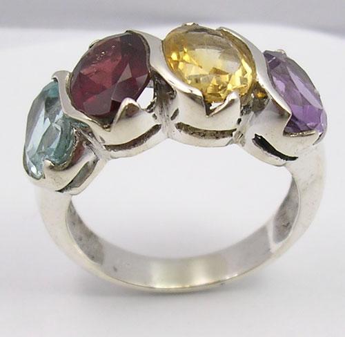 Top Zilveren edelsteen ring 4 stenen diverse maten | Zilveren #PB82