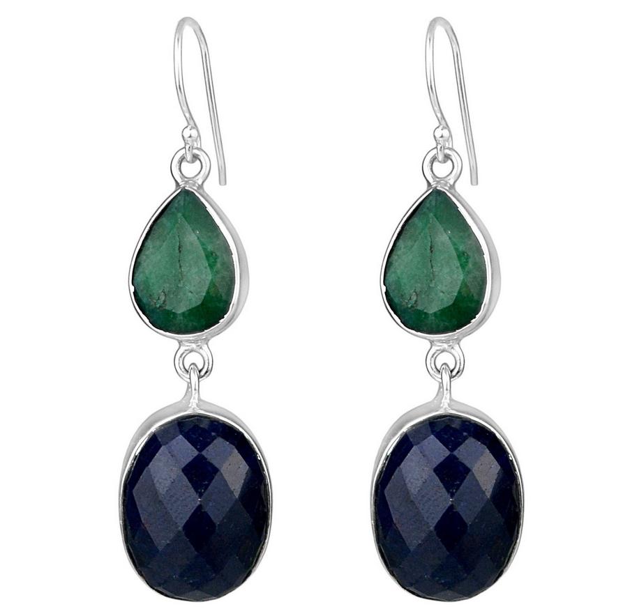 voor het hele gezin releasedatum goedkoopste prijs Zilveren oorbellen gezet met Emerald en Saffier
