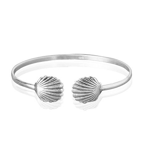 Zilveren armband / bangle met schelp